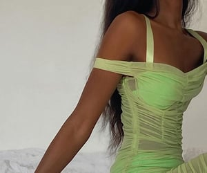 body, girl, and green dress image