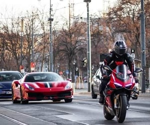 ferrari, motorcycle, and luxury car image