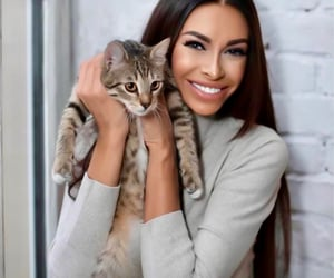 brunette, companion, and kittens image