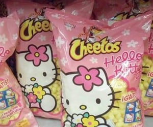 hello kitty, pink, and Cheetos image
