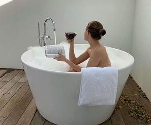 bath, book, and bathtub image