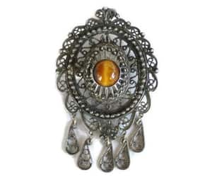 victorian jewelry, tiger's eye brooch, and etsy image
