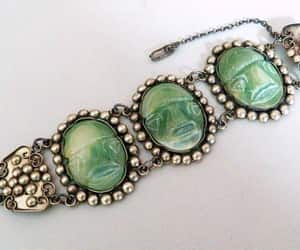 chunky jewelry, sterling silver, and carved jade image