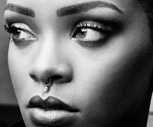 black and white and rihanna image