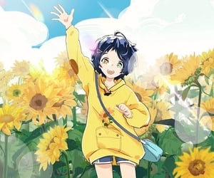 anime, anime girl, and sunflowers image