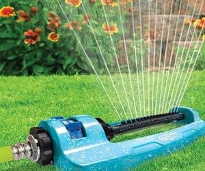 farmer, sprinkler, and garden image