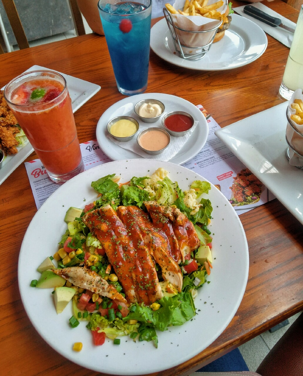blue, Chicken, and drinks image