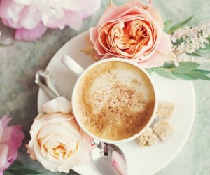 coffee, flower, and floral image