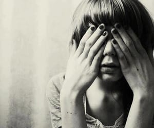 blindfold, girl, and hands image