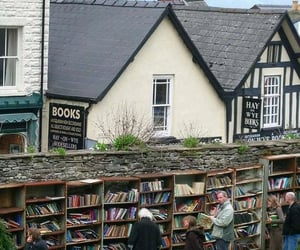 book, books, and village image