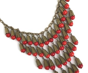 vintage necklace, miriam haskell, and red glass beads image
