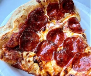 food, pizza, and pepperoni image