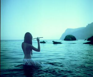 sea, blue, and music image
