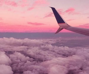 aesthetic, plane, and clouds image