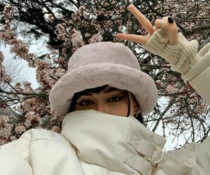 cherry blossoms, white, and selfie image