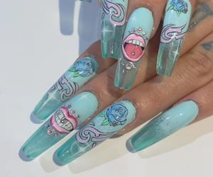 aqua, nails, and turquoise image
