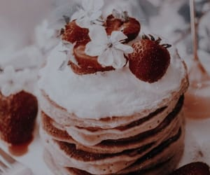 cream, pancakes, and food image