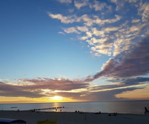 beach, cloud, and evening image