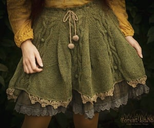 cute skirt, knitted, and forest image