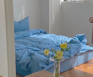 bed, blue, and flowers image