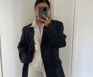button up shirt, everyday look, and black blazer image