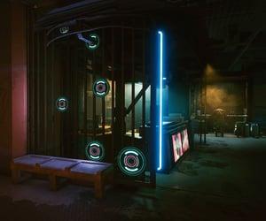 circles, city, and cyberpunk image