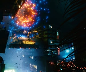 blue, city, and cyberpunk image
