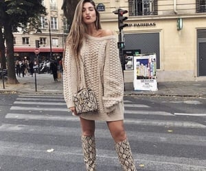 beige, dress, and knit image