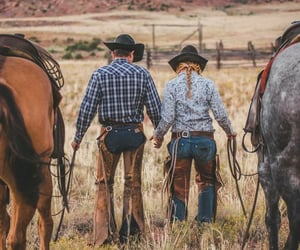 country, couple, and horses image