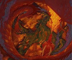 the hobbit, smaug, and dragon image