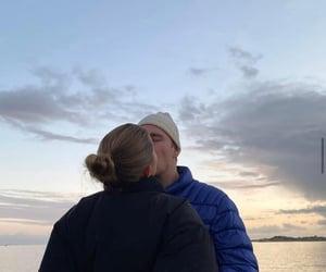 couple, sky, and kiss image