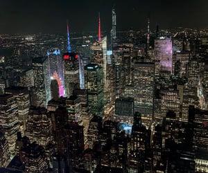 city lights, new york, and city night image