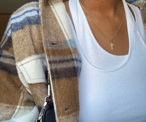 fashion, gold chain, and white t-shirt image