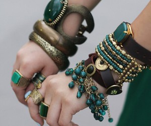 bracelet, green, and accessories image