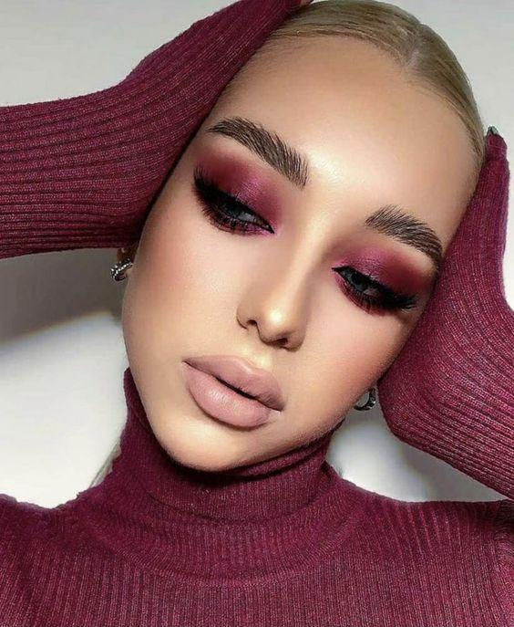 aesthetic, beauty, and burgundy image