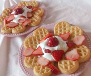 pink, strawberry, and waffles image