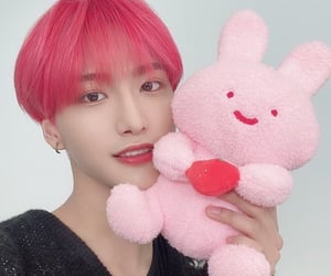 strawberry, kpop boy groups, and pink hair image
