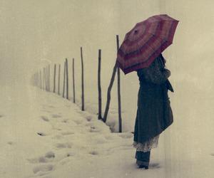snow, girl, and umbrella image