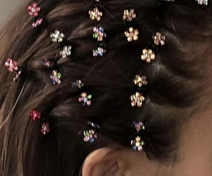hairstyle, hair, and flowers image