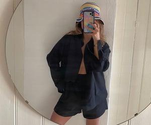button up shirt, crochet bucket hat, and summer image