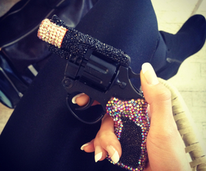 gun, nails, and black image
