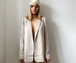 blogger, scarf, and beige blazer image