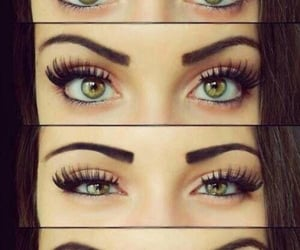 eyes, eyebrown, and false lashes image