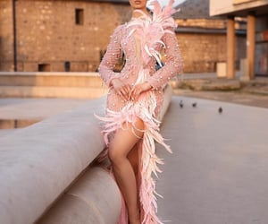dress, plumes, and fashion image