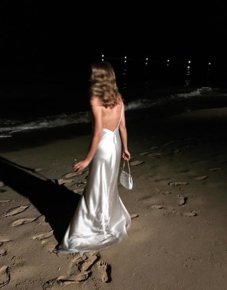 night, dress, and beach image
