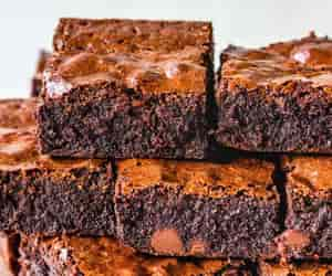Stack of brownies.