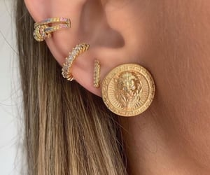 earings, woman, and gold earings image
