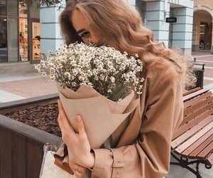 city, fashion, and flowers image