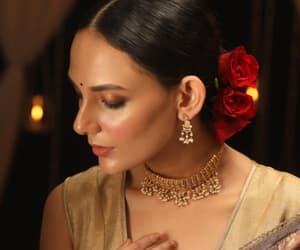 choker necklace, indian earrings, and antique jewellery image