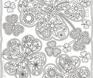 clover, coloring, and zentangle image